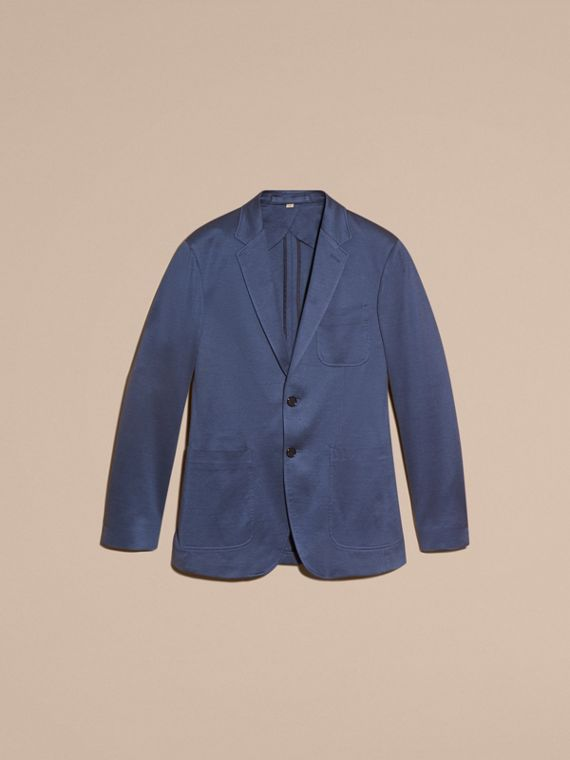 Mineral blue Slim Fit Tailored Cotton Jacket Mineral Blue - cell image 3