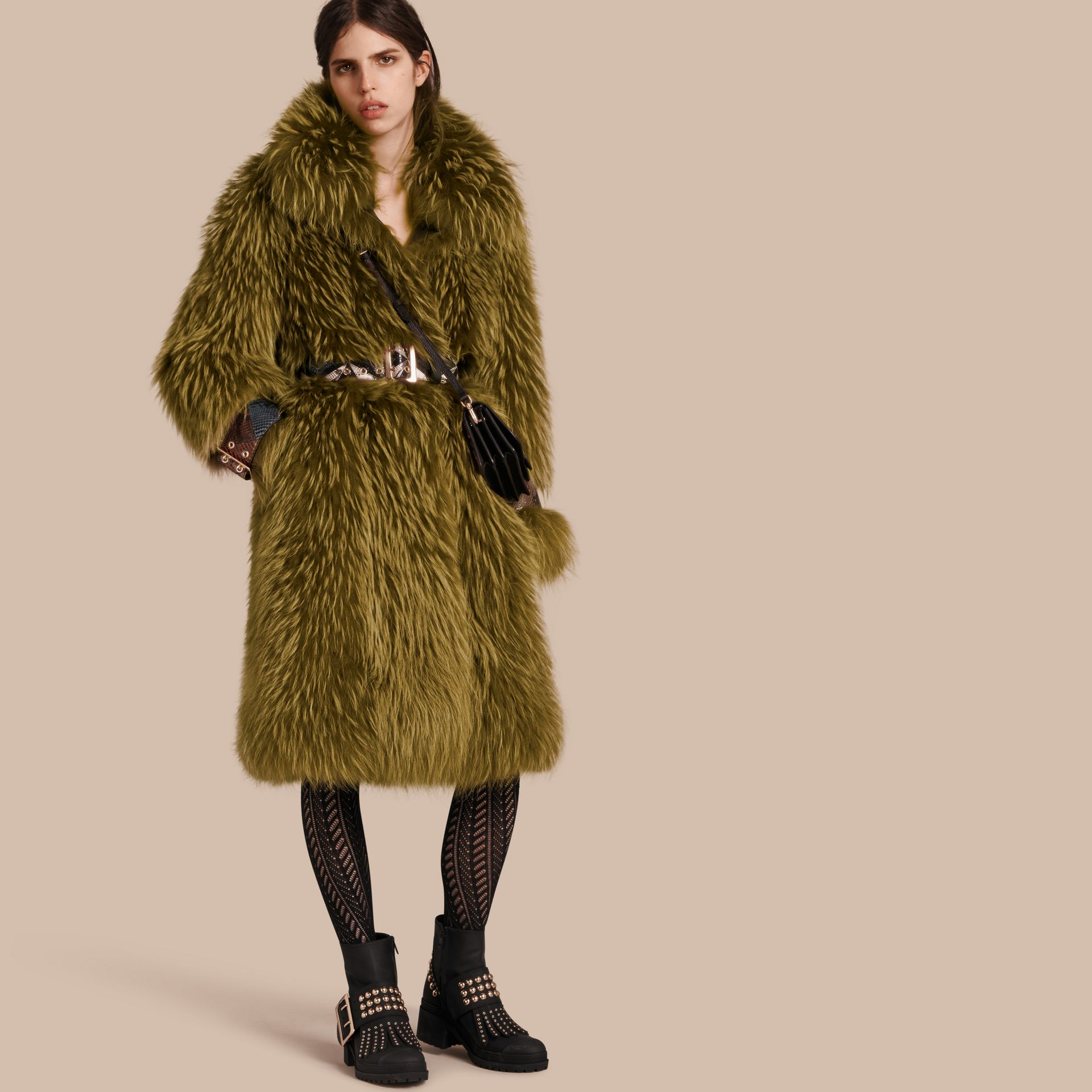 Bright yellow olive Oversize Raccoon Coat with Snakeskin Details - gallery image 1