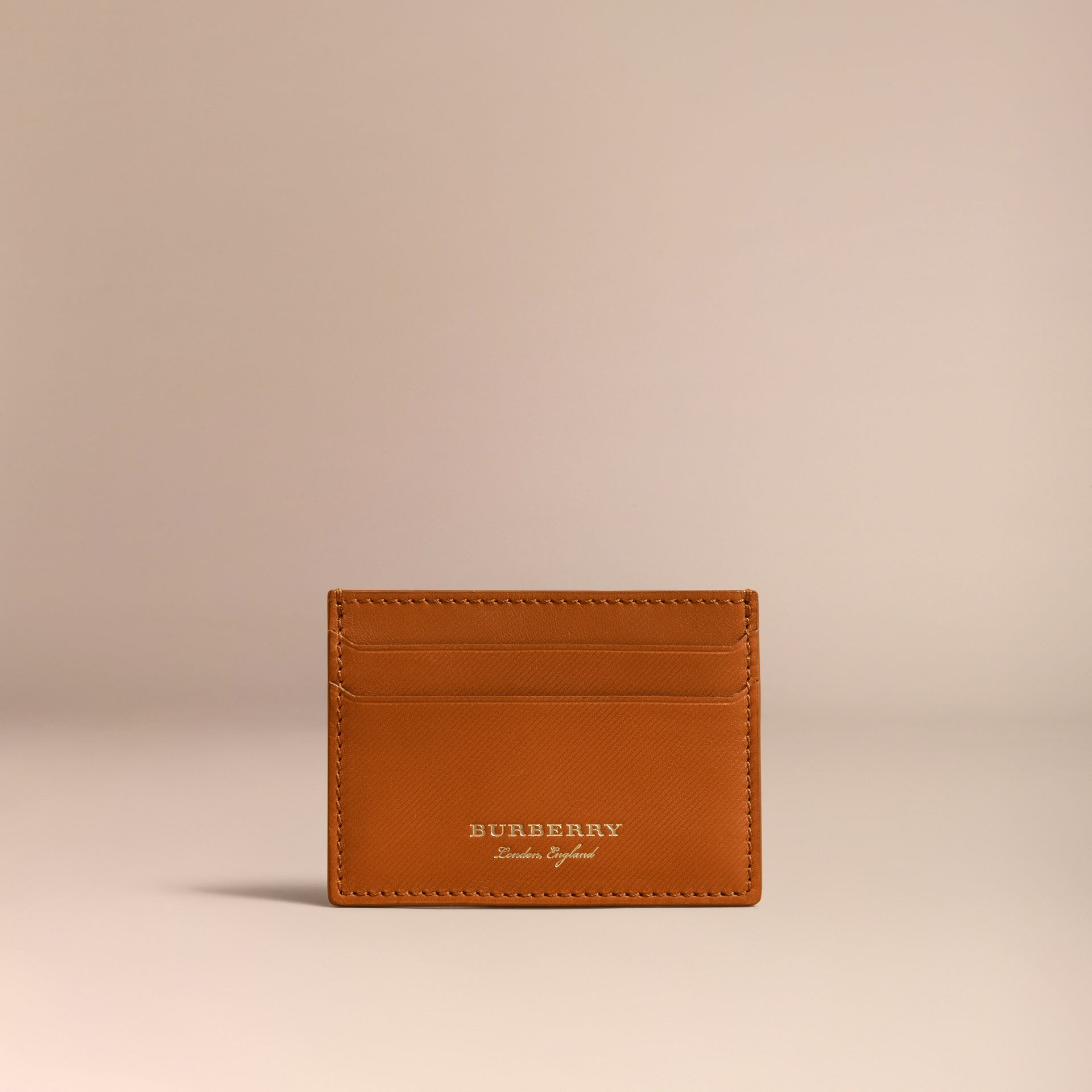Trench Leather Card Case in Tan - Men | Burberry Canada - gallery image 5