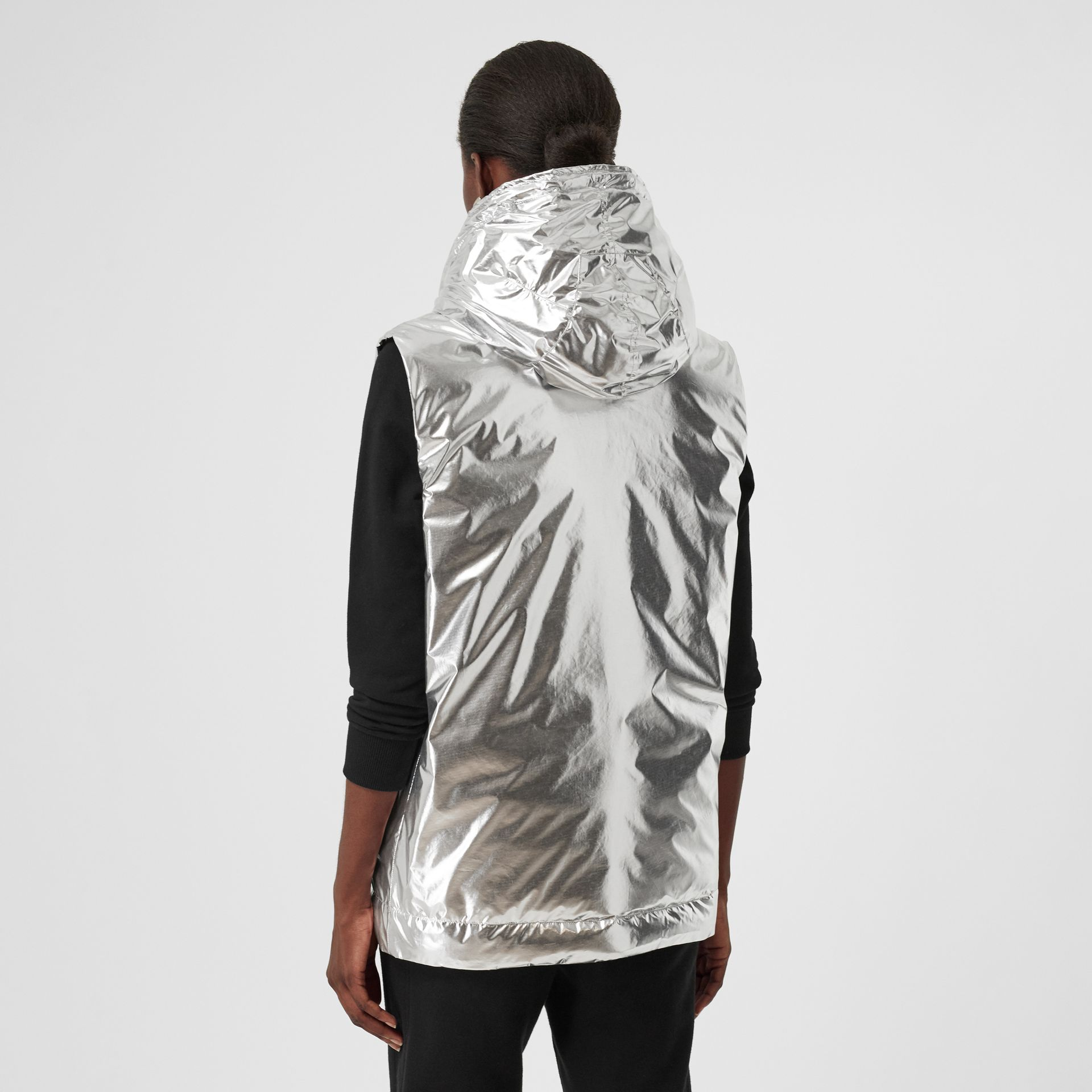 Logo Graphic Metallic Down-filled Gilet in Silver - Women | Burberry - gallery image 2