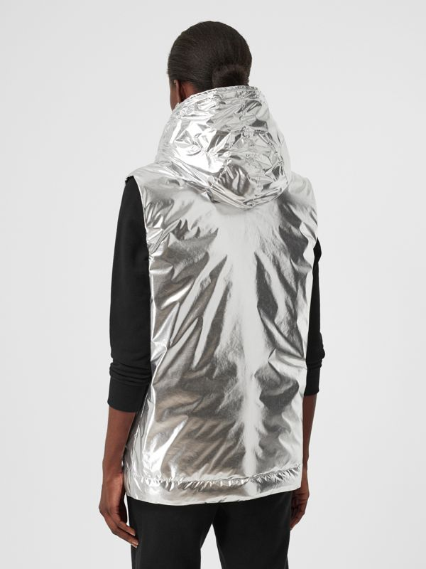 Logo Graphic Metallic Down-filled Gilet in Silver - Women | Burberry United Kingdom - cell image 2