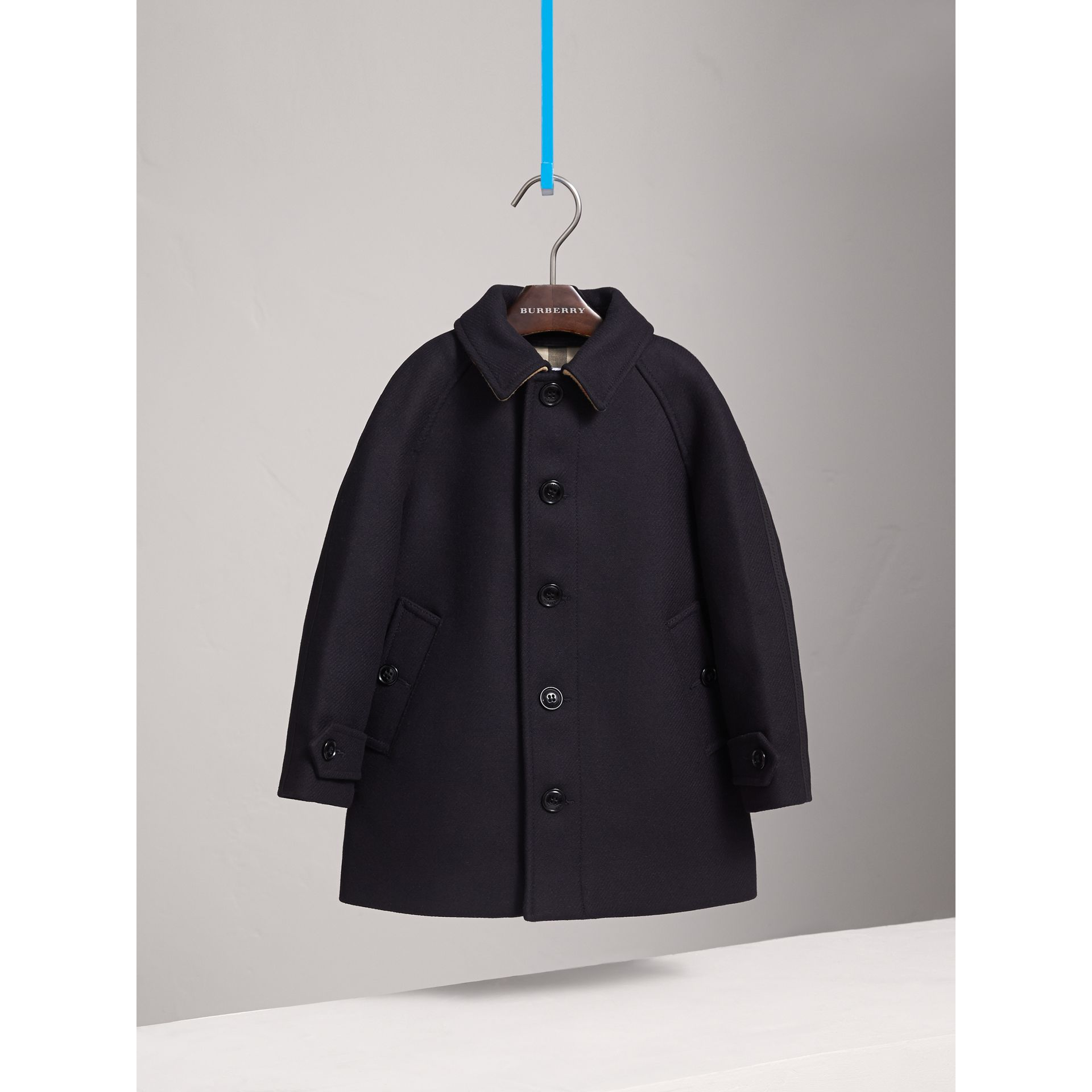 Wool Cashmere Blend Car Coat in Navy - Boy | Burberry Singapore - gallery image 3