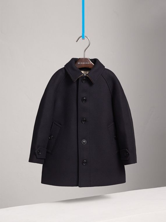 Wool Cashmere Blend Car Coat in Navy - Boy | Burberry - cell image 2