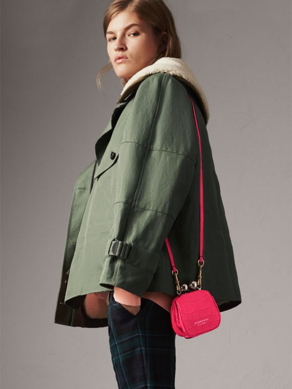 Mini Alligator Metal Frame Clutch Bag in Neon Pink - Women | Burberry Hong Kong - cell image 2