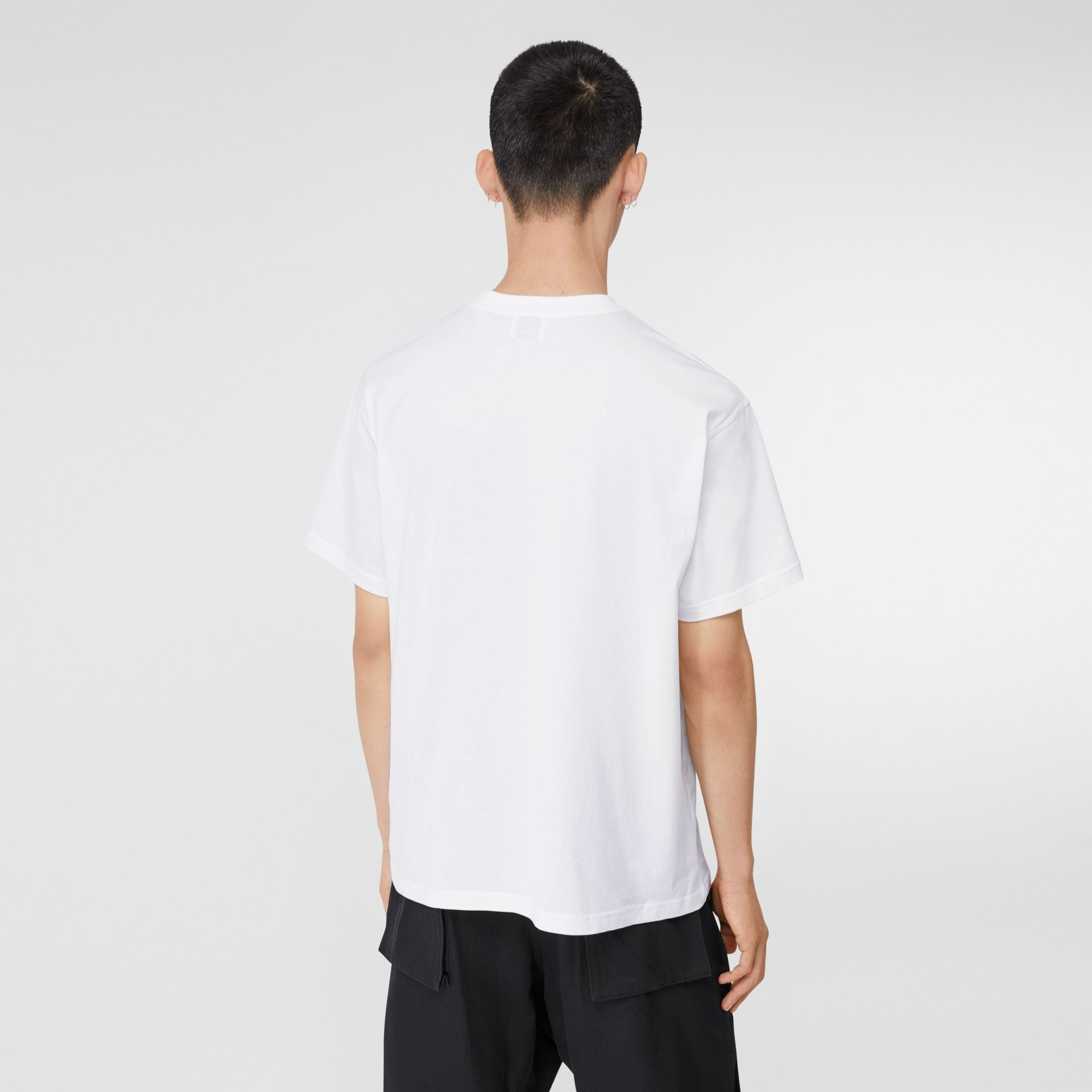 Monogram Motif Cotton Oversized T-shirt in White - Men | Burberry - gallery image 2