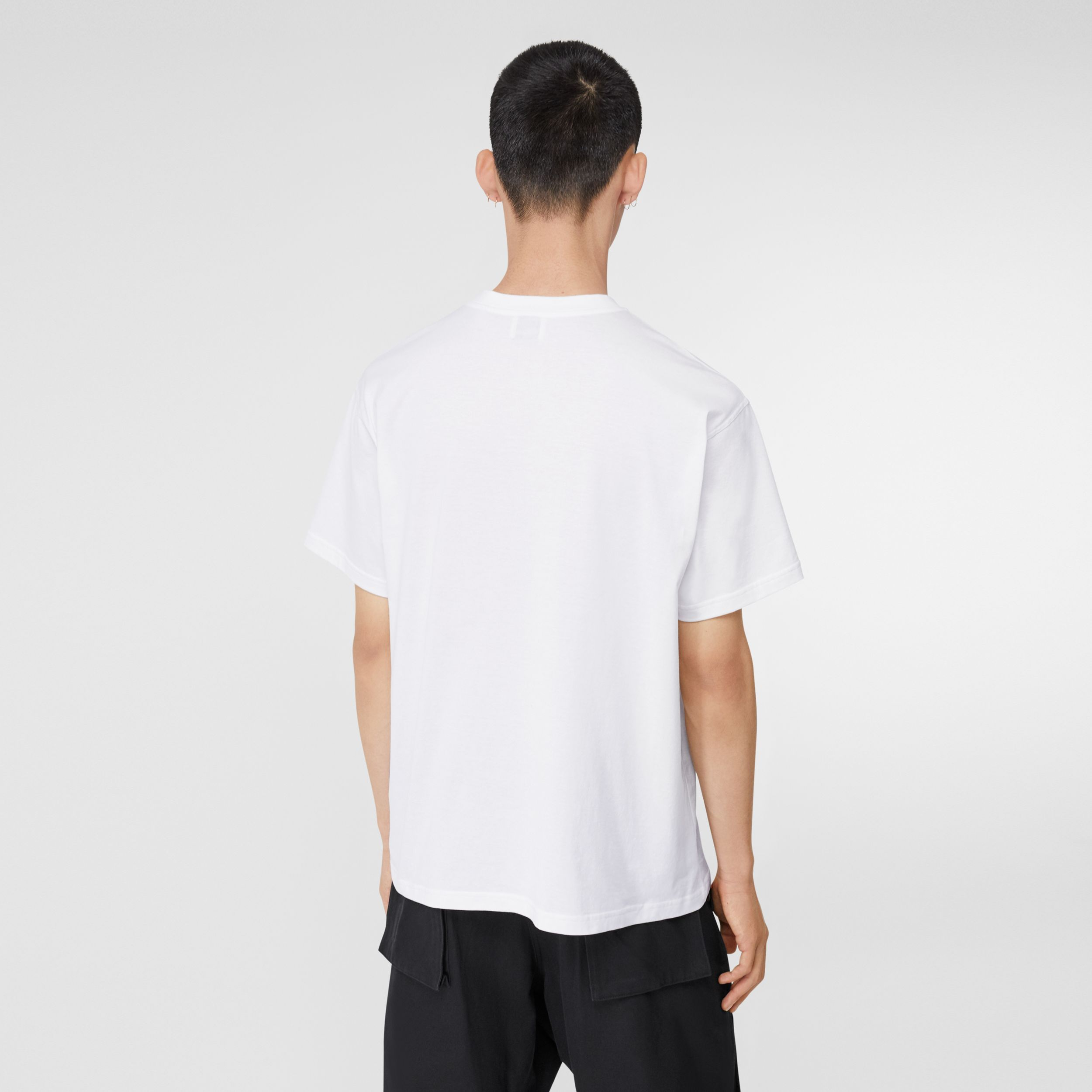 Monogram Motif Cotton Oversized T-shirt in White - Men | Burberry United Kingdom - 3