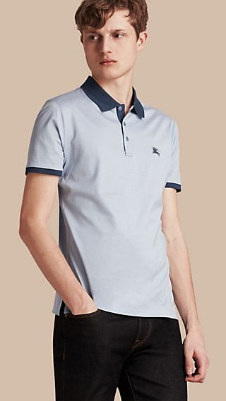 Fitted Cotton Polo Shirt with Tonal Trim