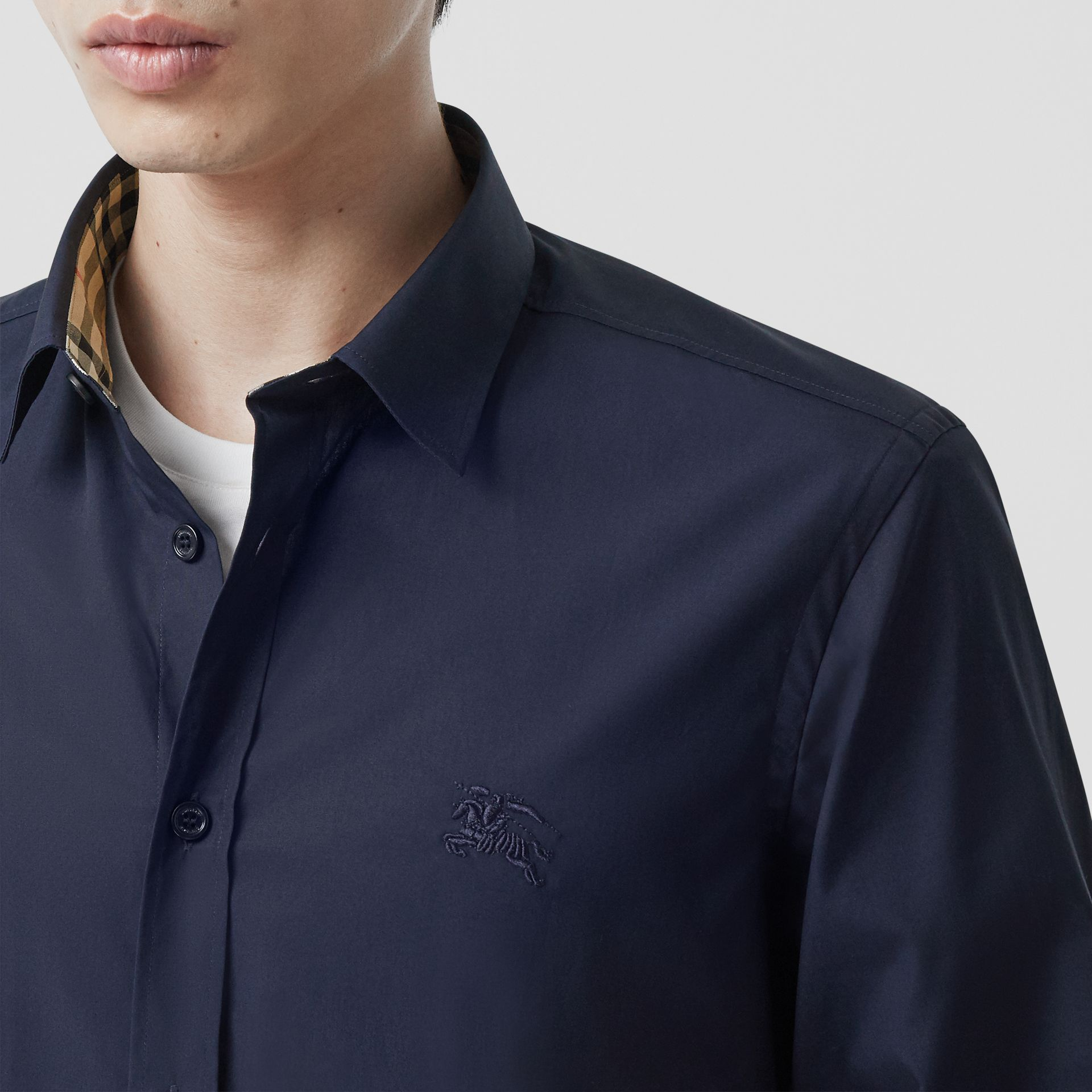 Slim Fit Embroidered EKD Stretch Cotton Shirt in Navy - Men | Burberry - gallery image 1