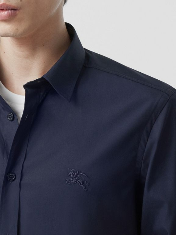 Slim Fit Embroidered EKD Stretch Cotton Shirt in Navy - Men | Burberry - cell image 1