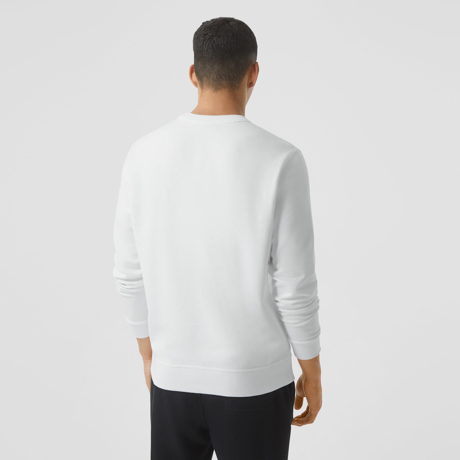 Tape Print Cotton Sweatshirt in White - Men | Burberry - gallery image 2
