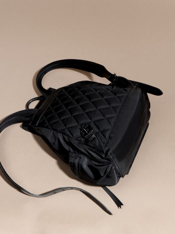 The Large Rucksack in Technical Nylon and Leather in Black - cell image 3