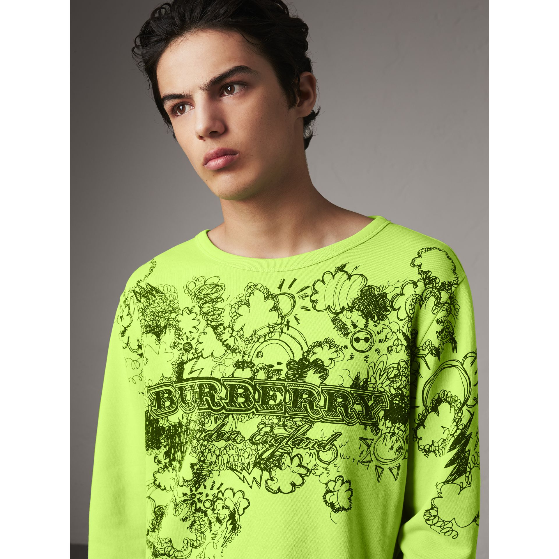 Doodle Print Cotton Sweatshirt in Bright Lemon - Men | Burberry - gallery image 2