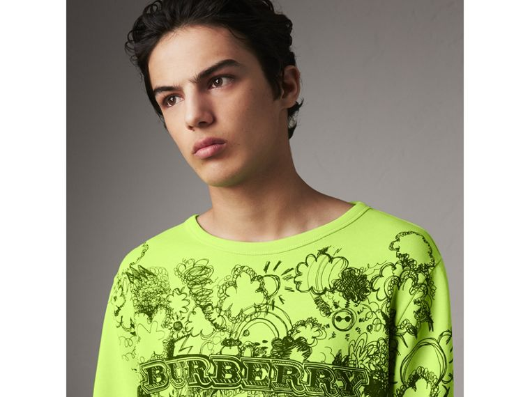 Doodle Print Cotton Sweatshirt in Bright Lemon - Men | Burberry - cell image 1
