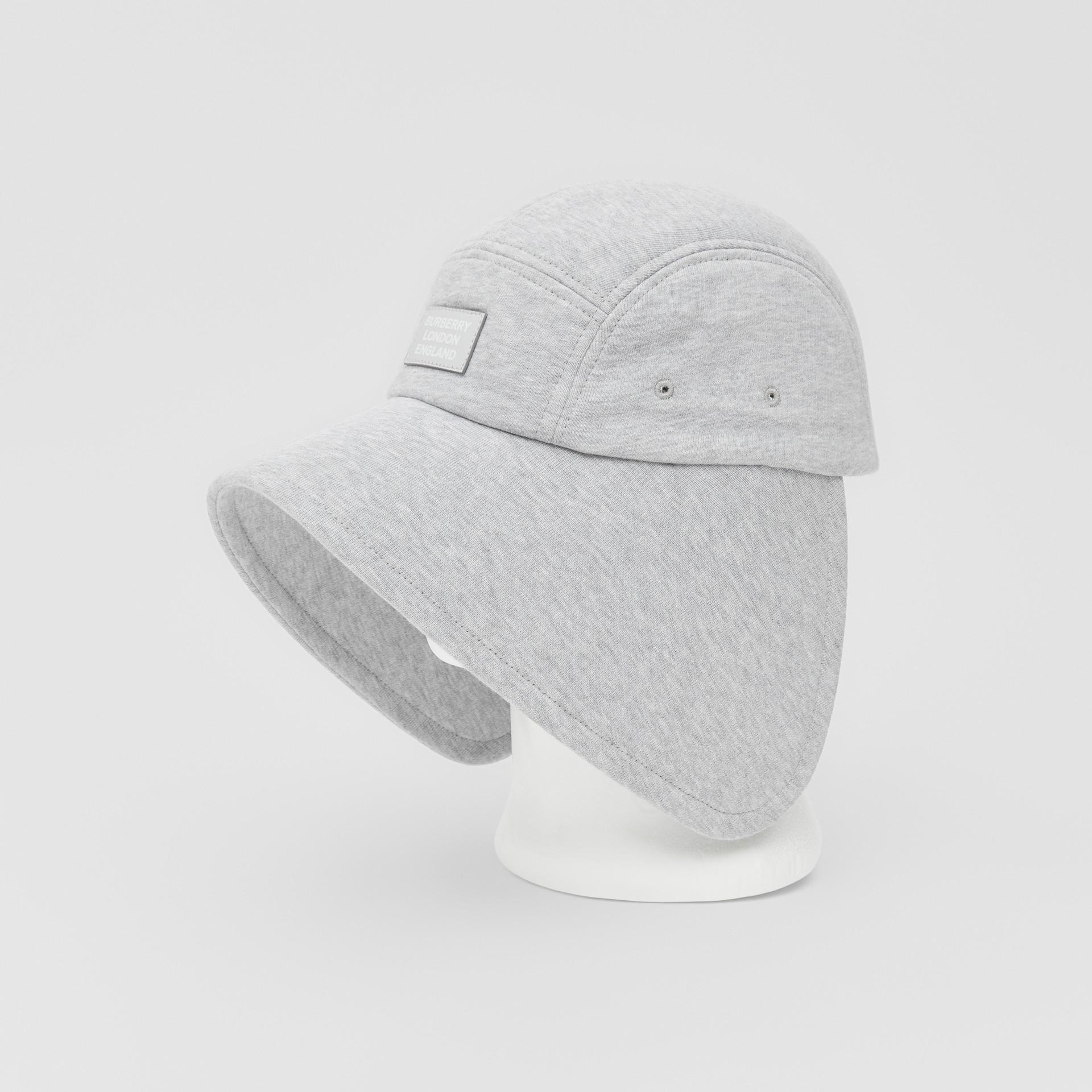 Logo Appliqué Cotton Jersey Bonnet Cap in Light Pebble Grey | Burberry - gallery image 5