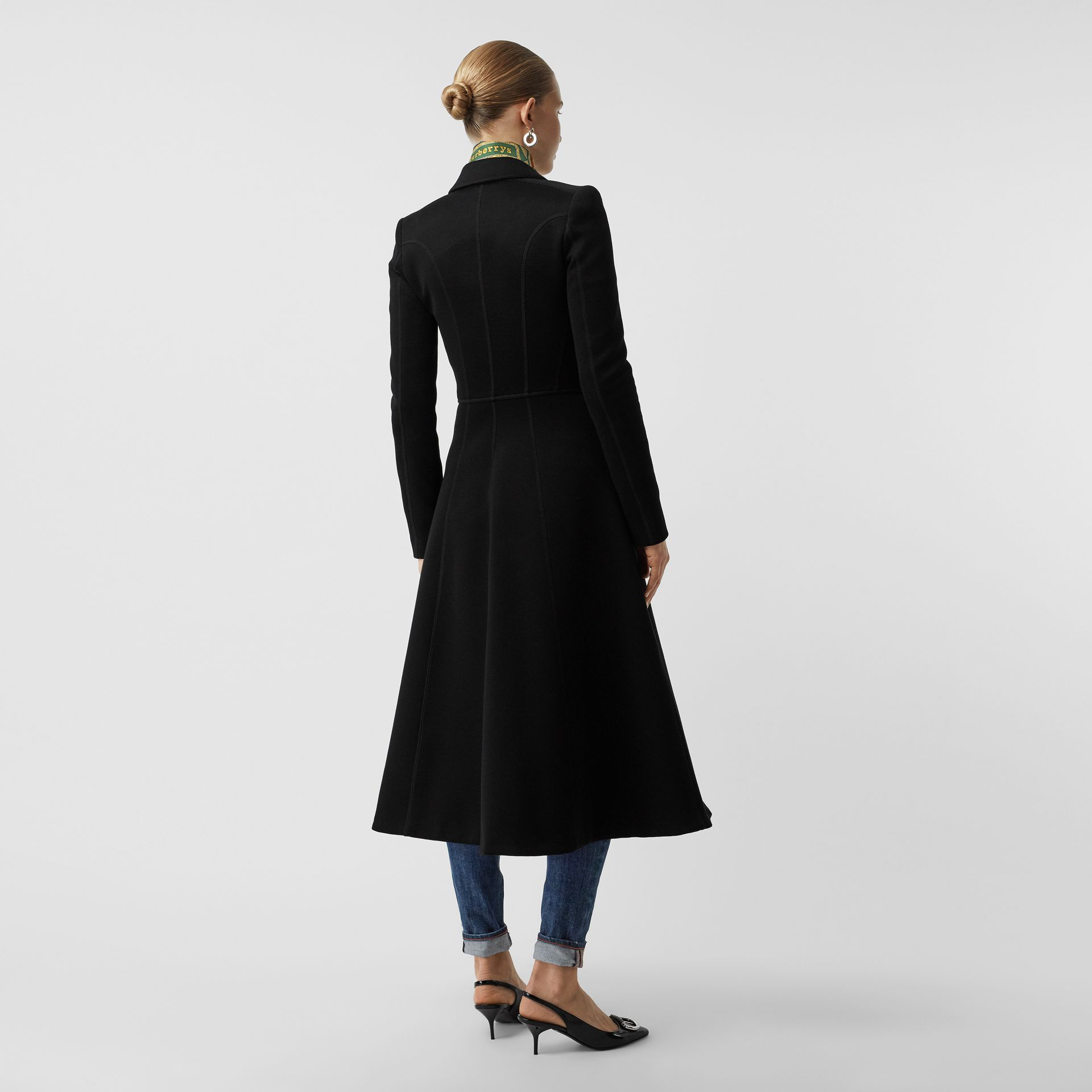 Bonded Cotton Blend Jersey Tailored Coat in Black - Women | Burberry - gallery image 2