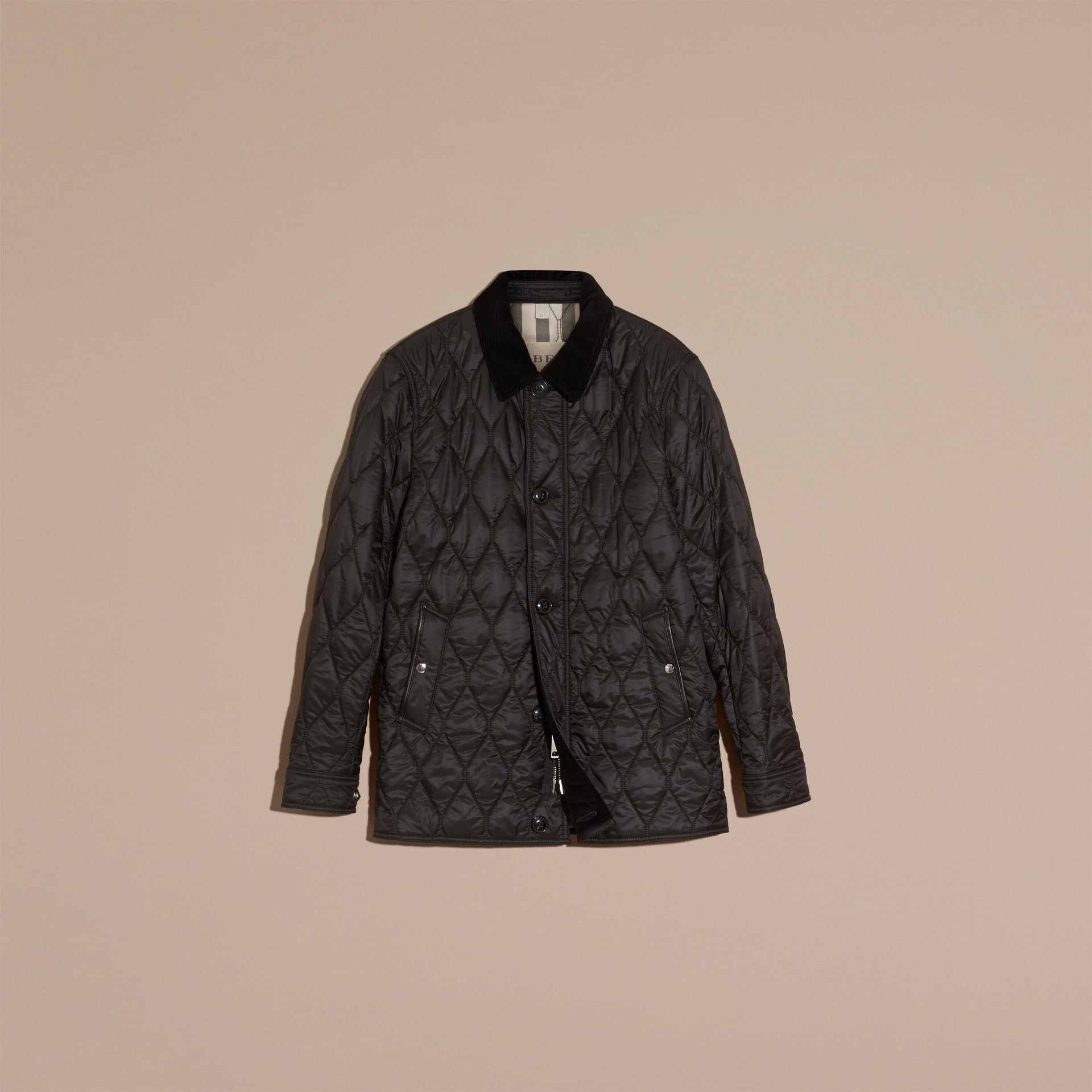 Black Check Detail Quilted Jacket with Corduroy Collar - gallery image 4
