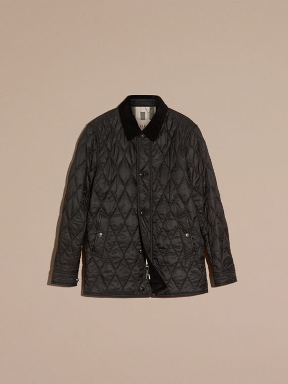 Black Check Detail Quilted Jacket with Corduroy Collar - cell image 3
