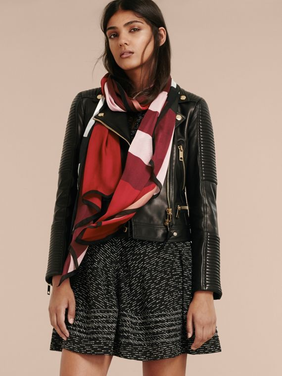 Lightweight Check Silk Scarf in Parade Red - Women | Burberry Australia - cell image 2