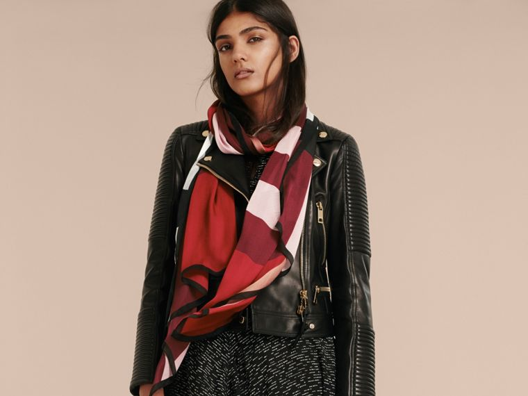 Lightweight Check Silk Scarf in Parade Red - Women | Burberry United Kingdom - cell image 2