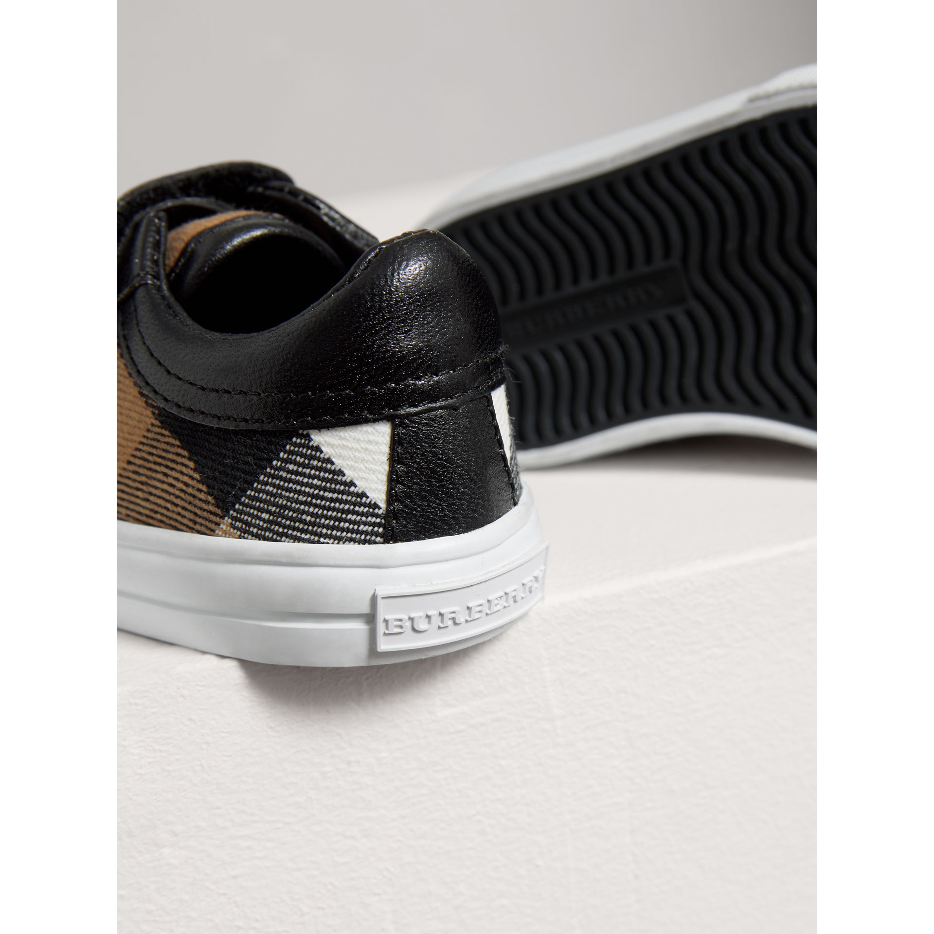 House Check and Leather Trainers in Black | Burberry United Kingdom - gallery image 1