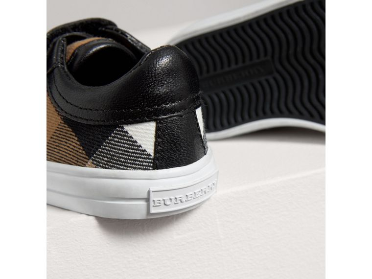 House Check and Leather Trainers in Black | Burberry United Kingdom - cell image 1