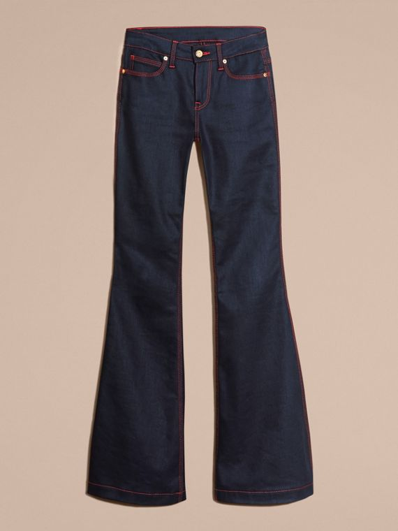 Indigo Flared Stretch Denim Jeans - cell image 3