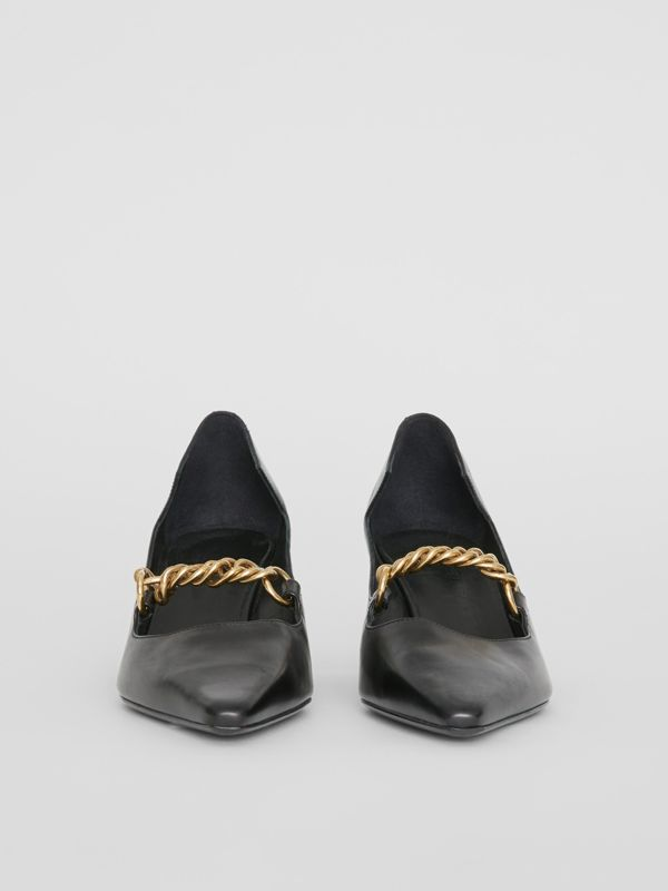 Link Detail Leather Pumps in Black - Women | Burberry - cell image 3