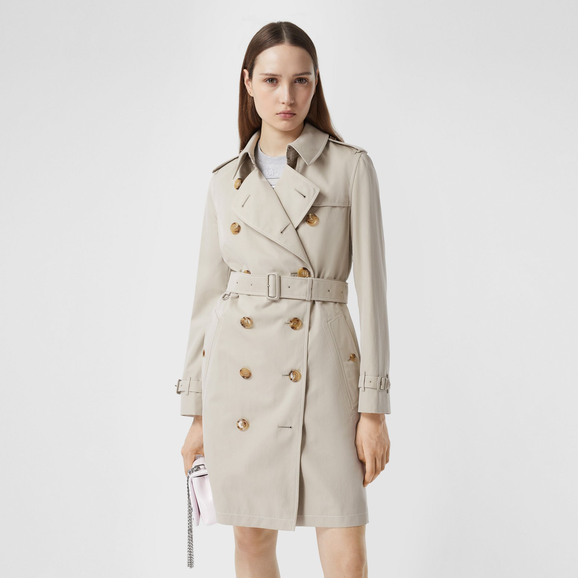 Topstitched Tropical Gabardine Trench Coat in Stone - Women | Burberry - gallery image 5