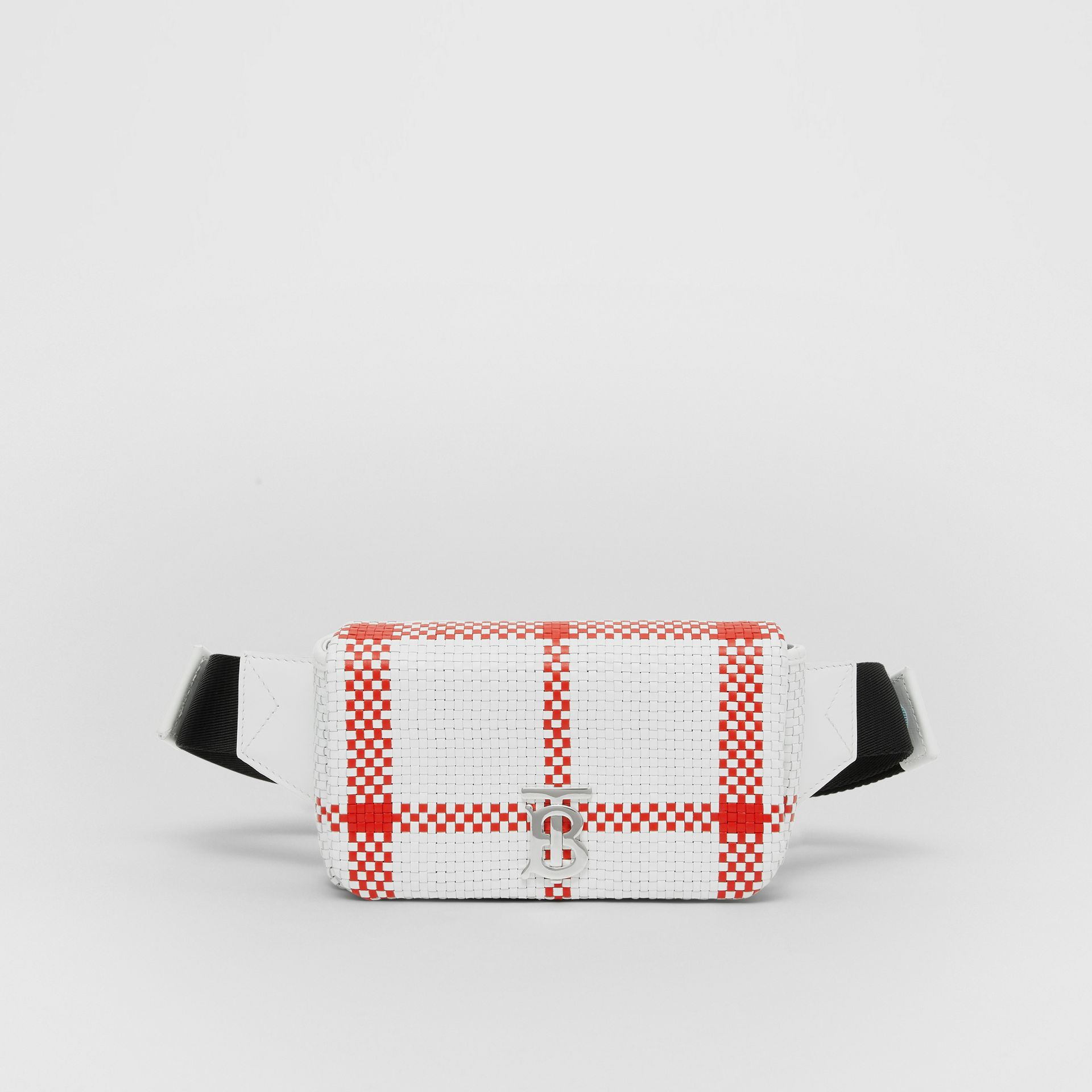 Latticed Leather Lola Bum Bag in White/red - Women | Burberry - gallery image 0