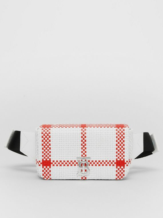 Latticed Leather Lola Bum Bag in White/red