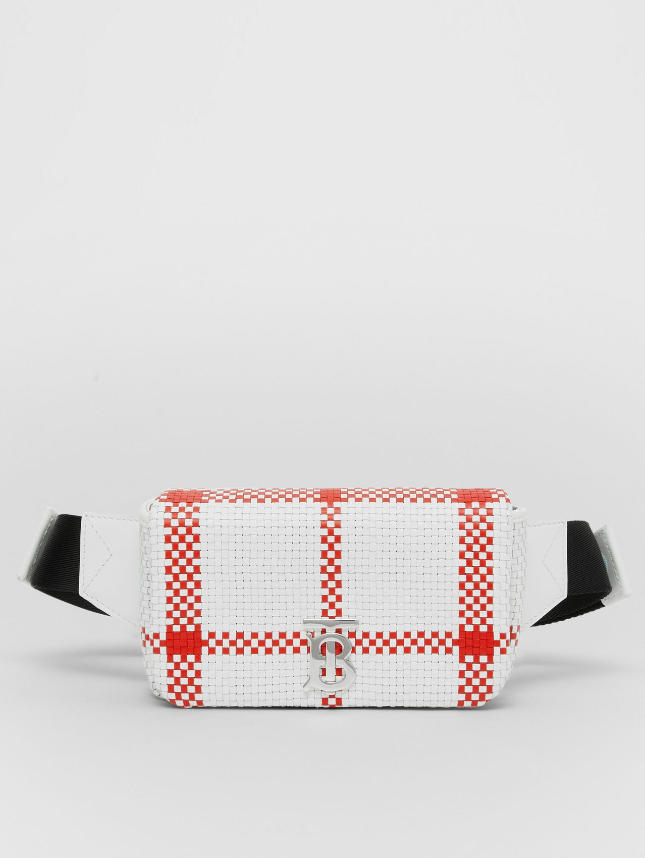 Latticed Leather Lola Bum Bag (White/red)