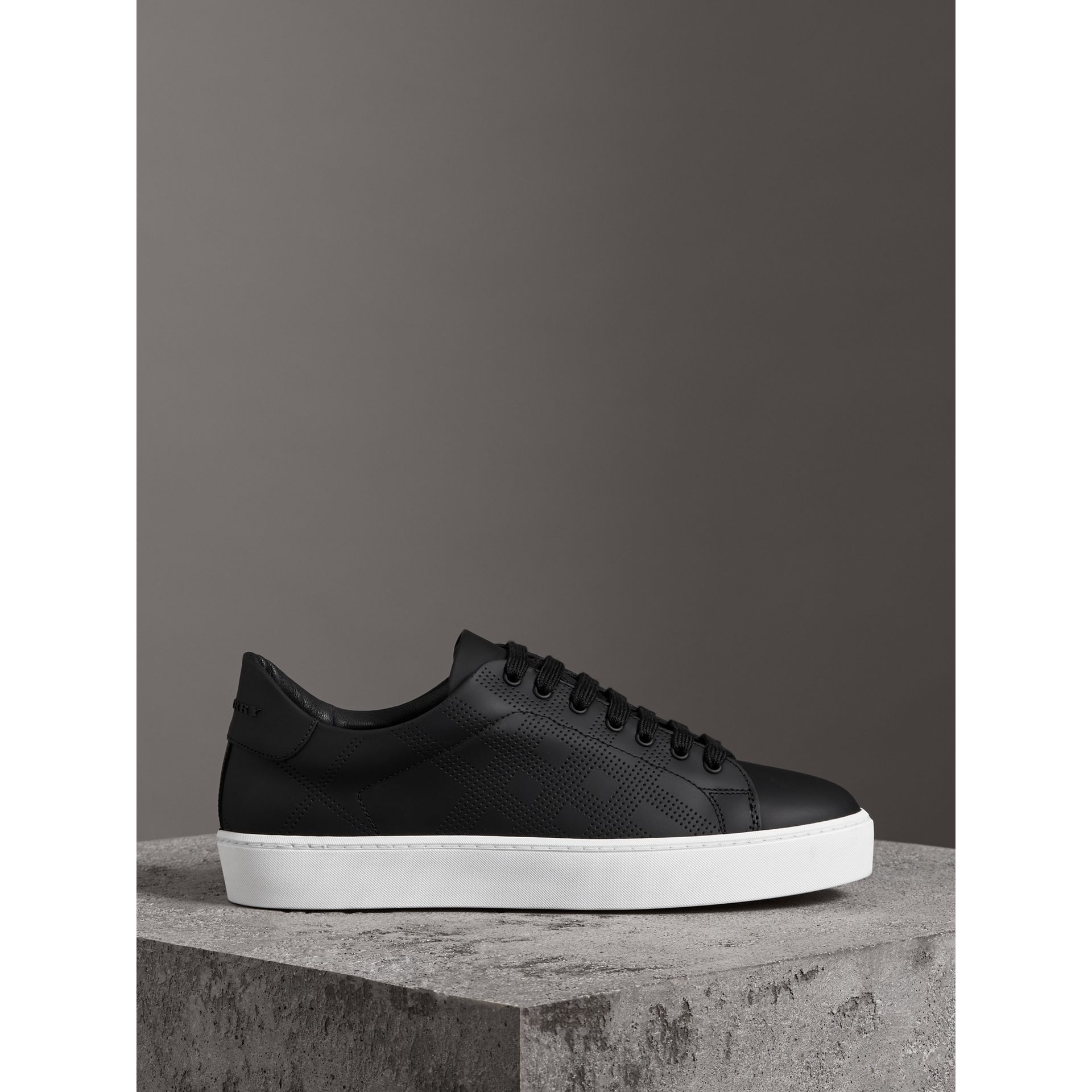 Perforated Check Leather Sneakers in Black - Women | Burberry United States - gallery image 4