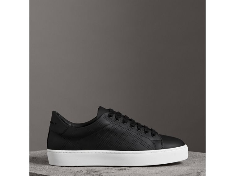 Perforated Check Leather Sneakers in Black - Women | Burberry - cell image 4