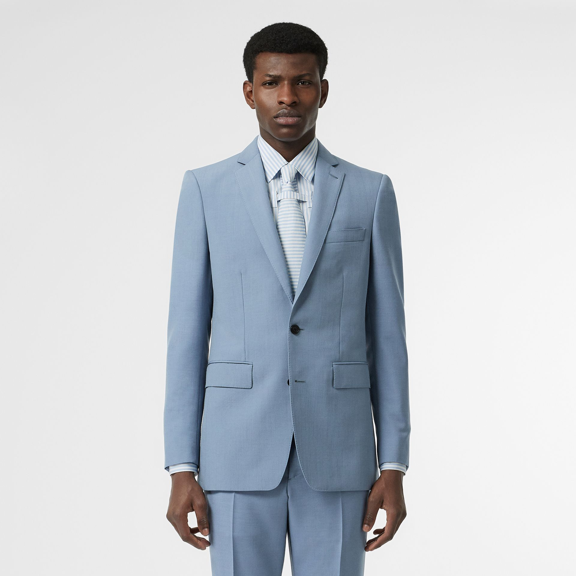 Classic Fit Wool Mohair Tailored Jacket in Pale Blue - Men | Burberry - gallery image 5