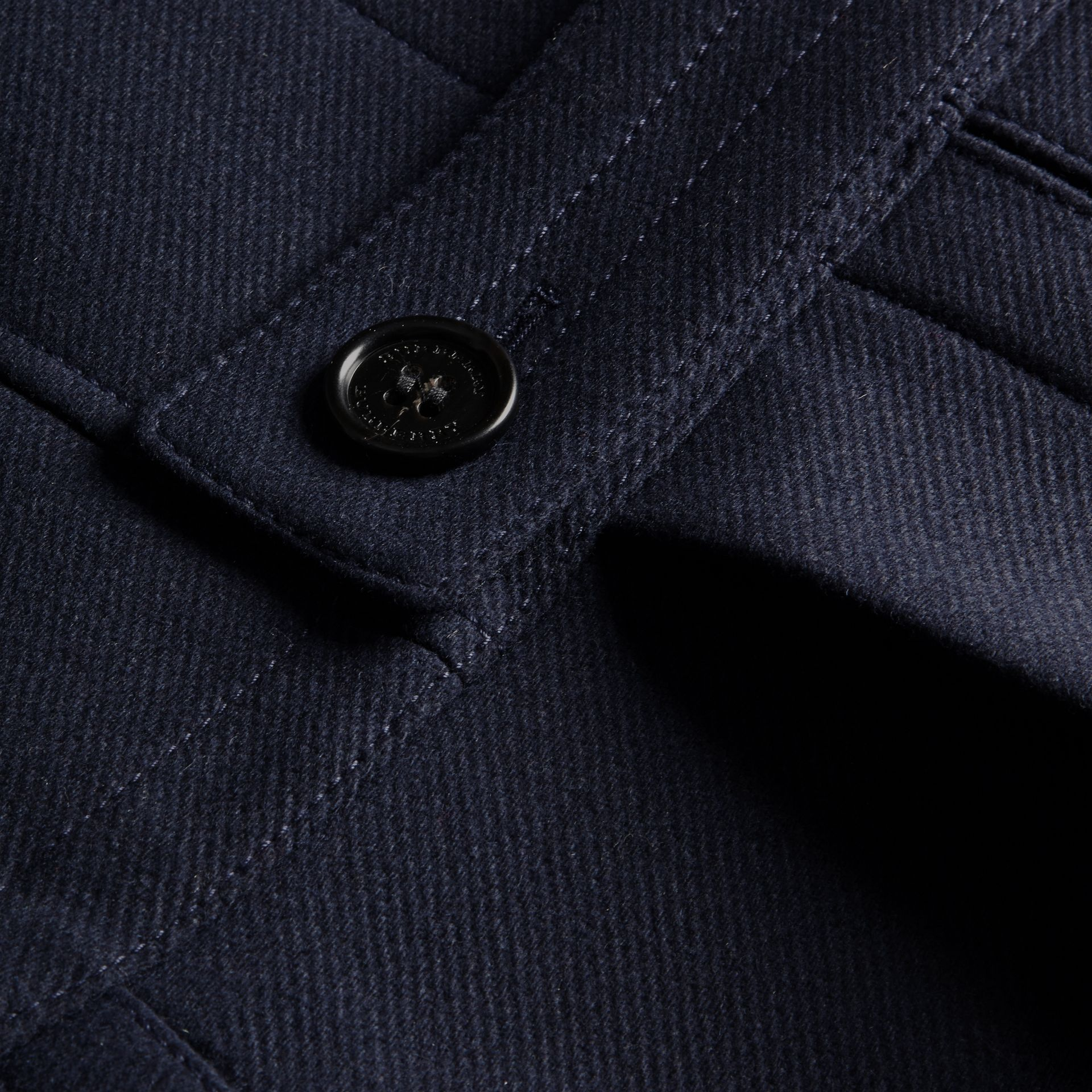 Navy Wool Cashmere Blend Military Pea Coat - gallery image 2
