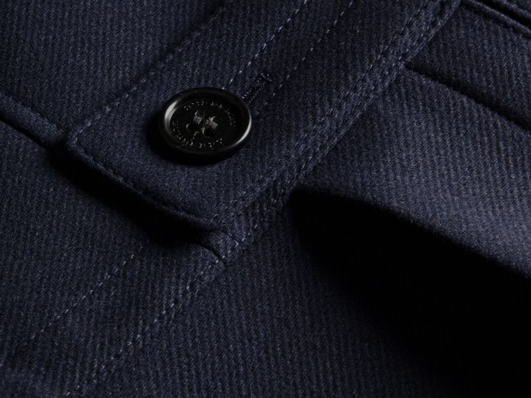 Navy Wool Cashmere Blend Military Pea Coat - cell image 1