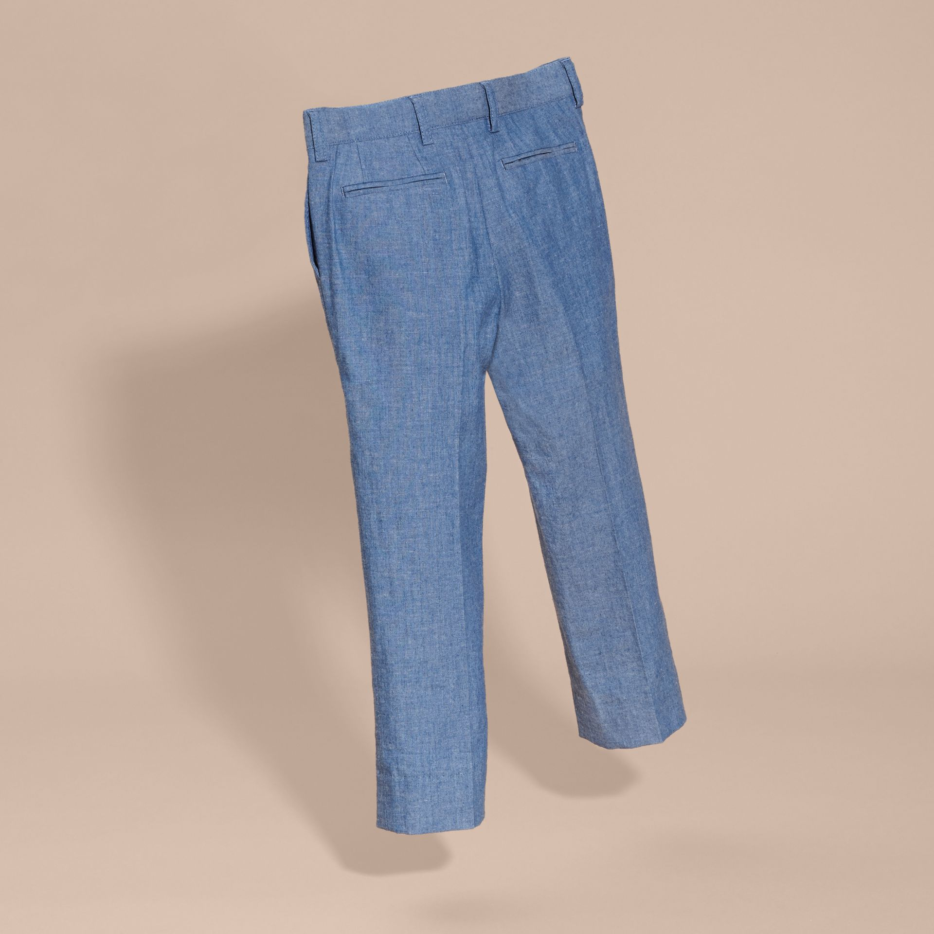 Stone blue Tailored Cotton Trousers - gallery image 4