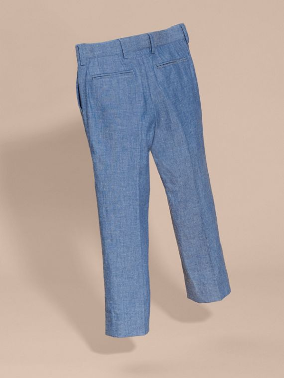 Tailored Cotton Trousers in Stone Blue - Boy | Burberry - cell image 3