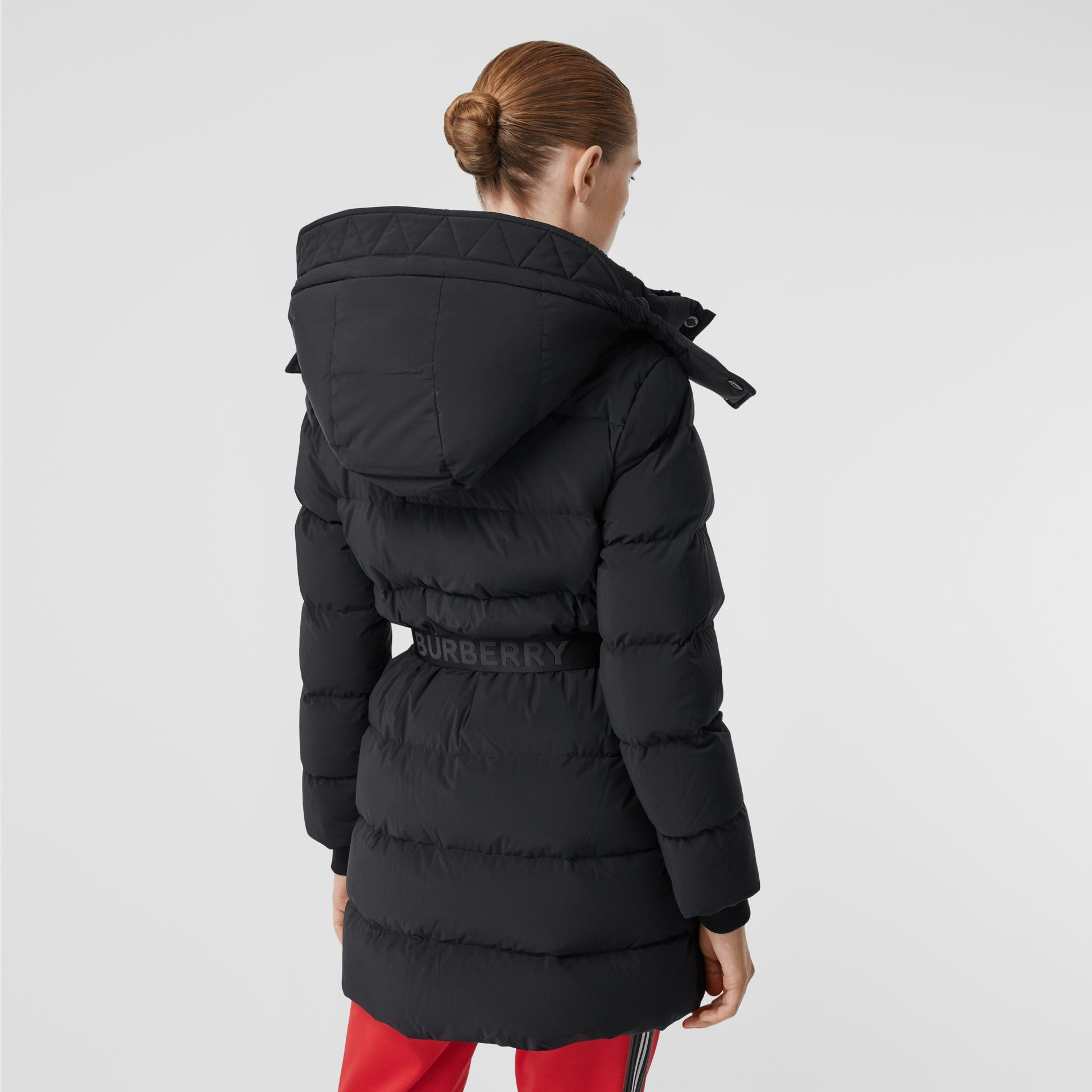 Detachable Hood Belted Puffer Coat in Black - Women | Burberry - gallery image 2