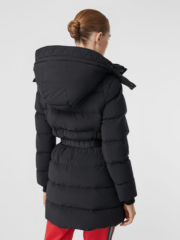 Detachable Hood Belted Puffer Coat in Black - Women | Burberry - cell image 2