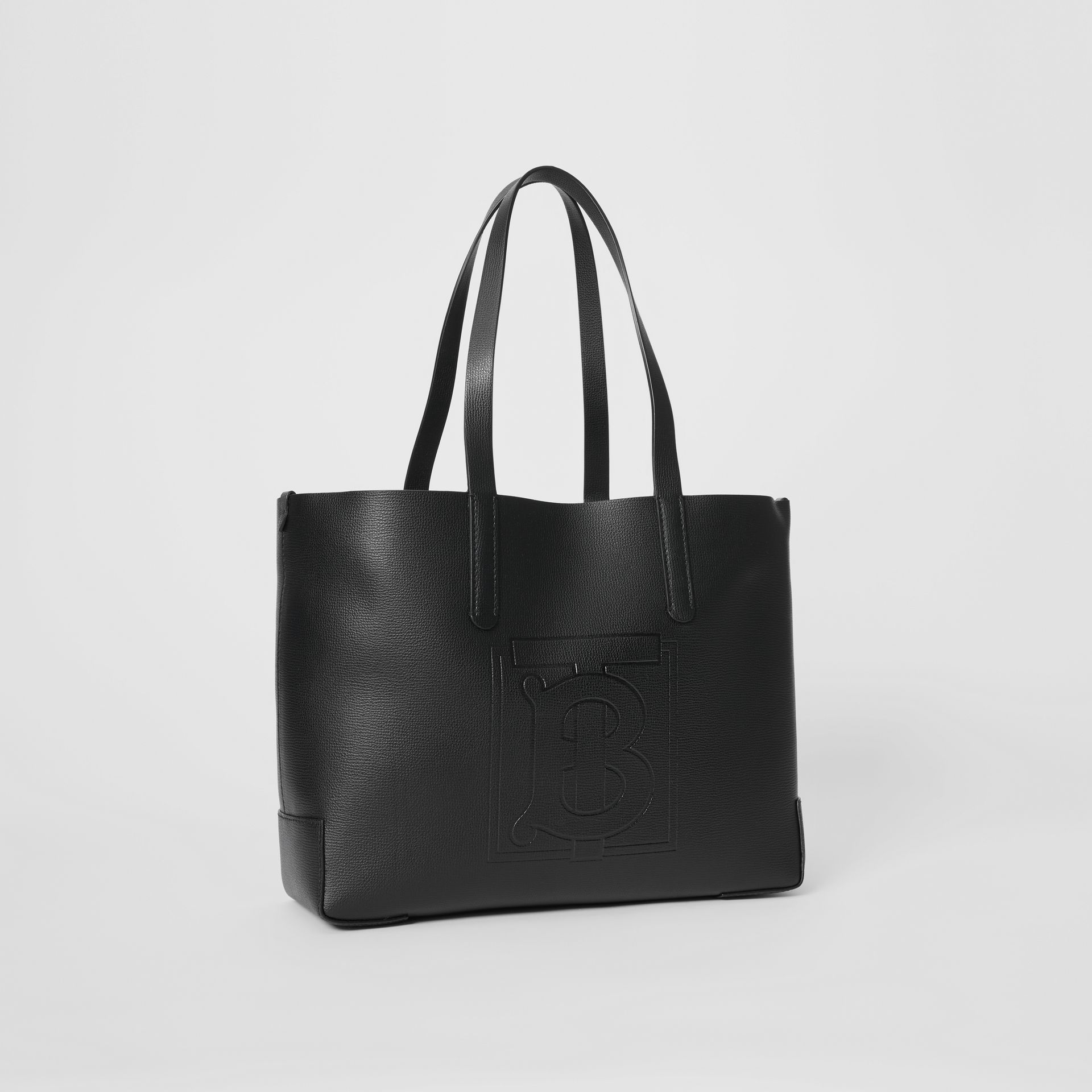 Embossed Monogram Motif Leather Tote in Black - Women | Burberry - gallery image 6