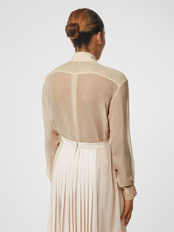 Lace Detail Silk Chiffon Shirt in Soft Peach - Women | Burberry - cell image 2
