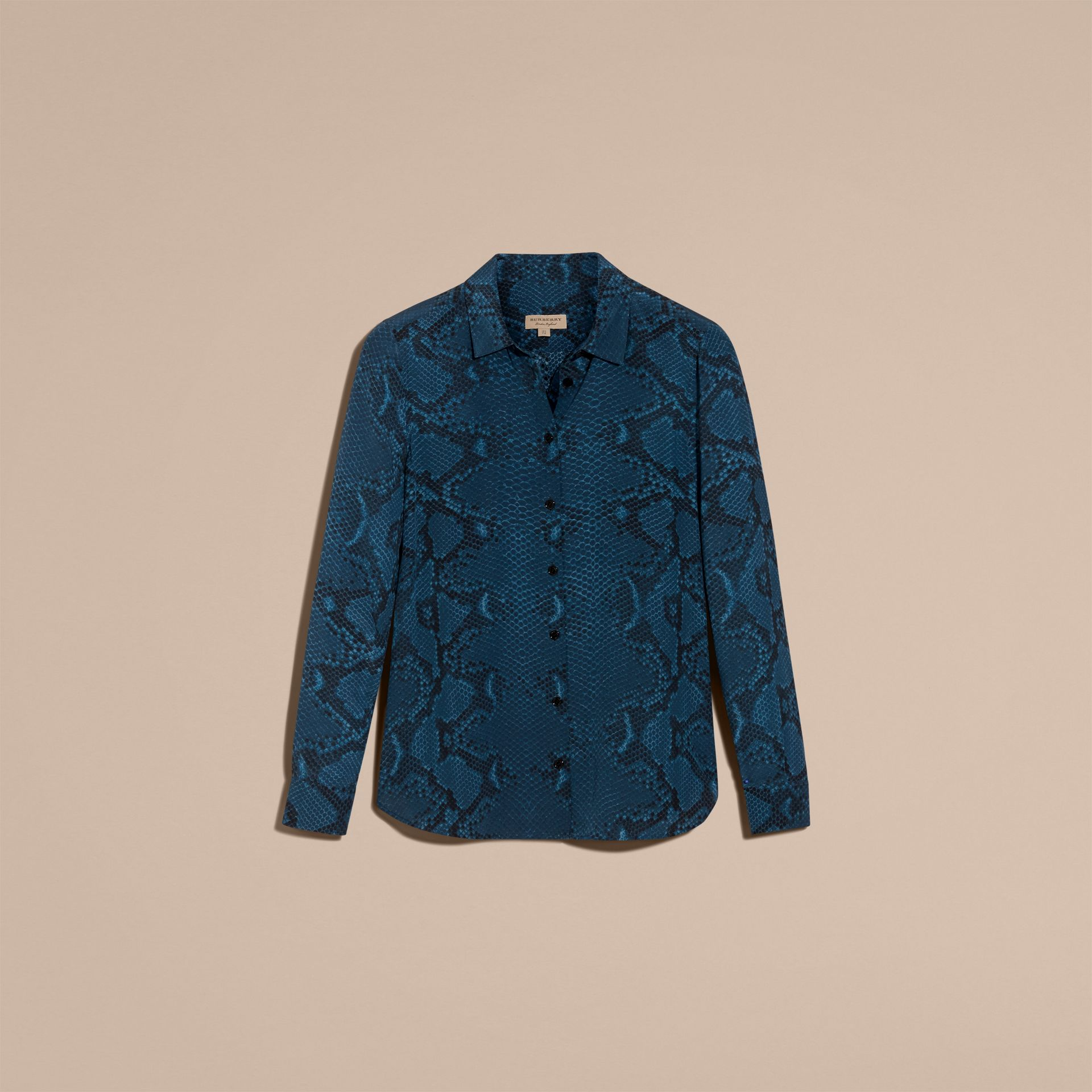 Mineral blue Python Print Silk Shirt - gallery image 4