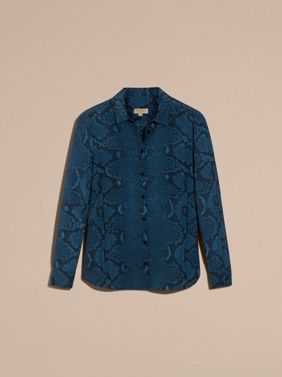 Azul mineral Camisa de seda com estampa de píton - cell image 3