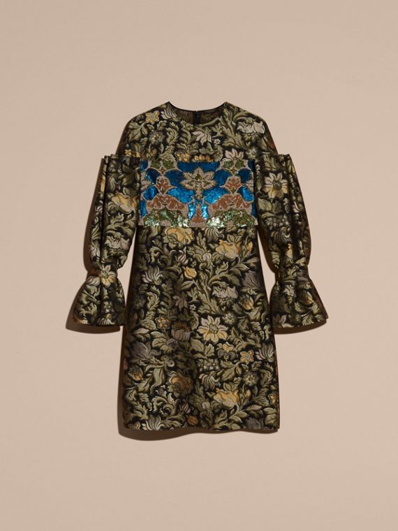 Sage Floral Tapestry Fil Coupé and Sequin Dress - cell image 3