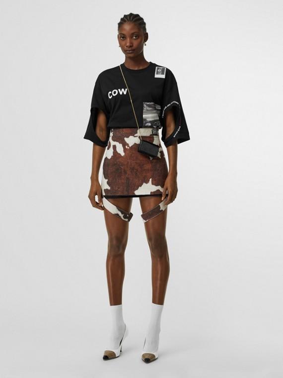Cut-out Detail Montage Print Cotton T-shirt in Black