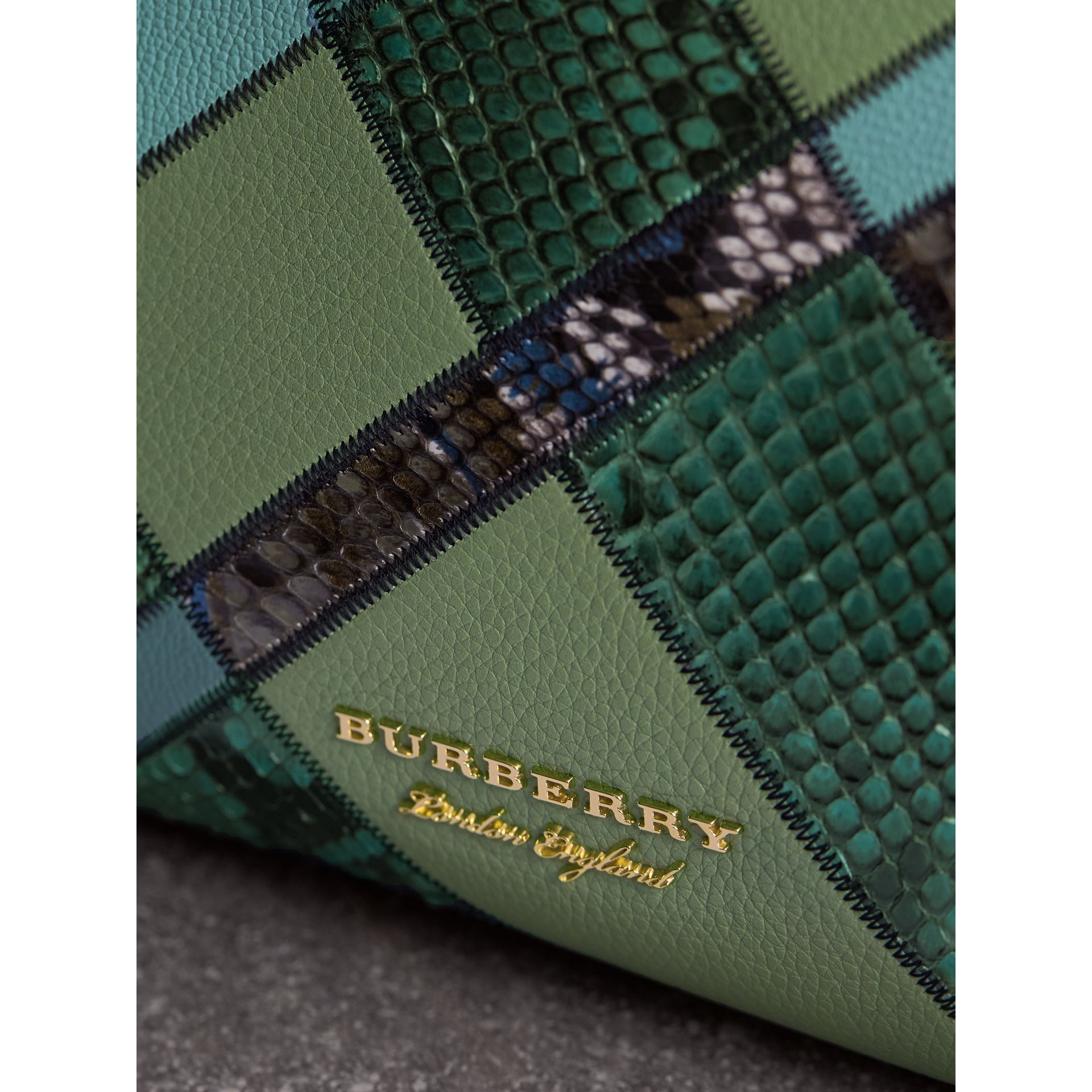 The Medium Banner in Patchwork Leather and Python in Celadon Blue - Women | Burberry - gallery image 1