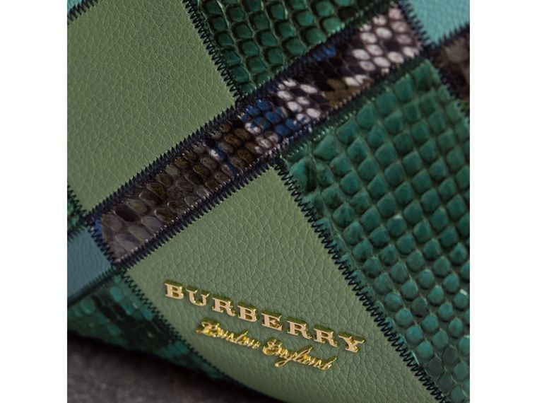 The Medium Banner in Patchwork Leather and Python in Celadon Blue - Women | Burberry - cell image 1