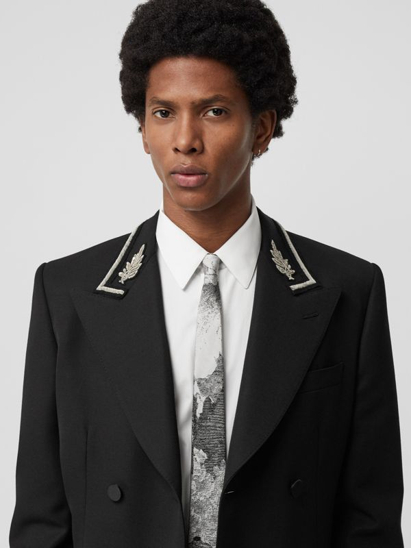 Slim Cut Dreamscape Silk Jacquard Tie in Black - Men | Burberry United Kingdom - cell image 2