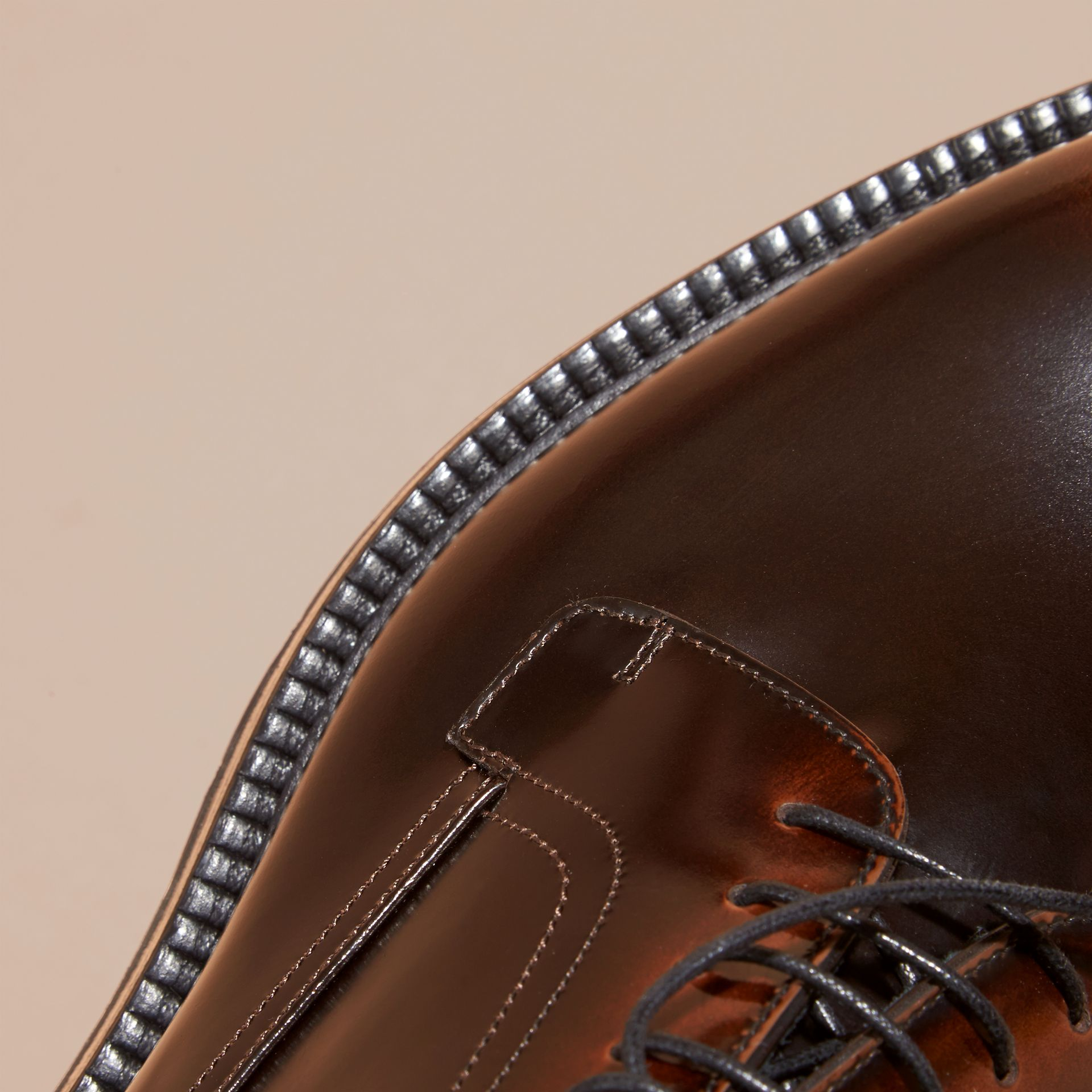 Burnished Leather Derby Shoes in Bitter Chocolate - gallery image 2